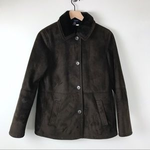 Chaps brown coat sueded fabric small fur lined